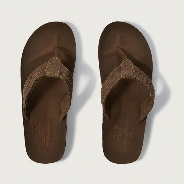 Abercrombie & Fitch Leather Flip Flops ($34) ❤ liked on Polyvore featuring…