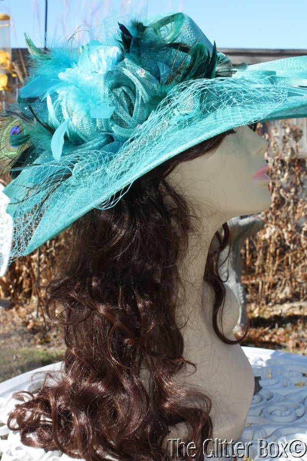 Women's Kentucky Derby Church Special Occasion Hat Sinamay Teal Peacock #BowlerDerby