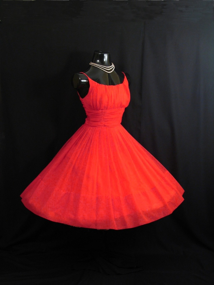 AUGH WHY NOT ME  Vintage 1950's 50s Bombshell RED Ruched Chiffon Organza Party Prom Holiday Xmas DRESS Gown. $349.99, via Etsy.