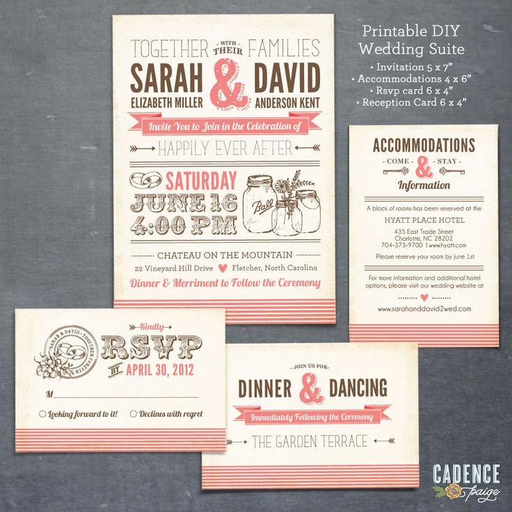 Mason Jar Invitation, Mason Jar Wedding Invitation, Typographic Wedding Invitation DIY (PRINTABLE). $58.00, via Etsy.