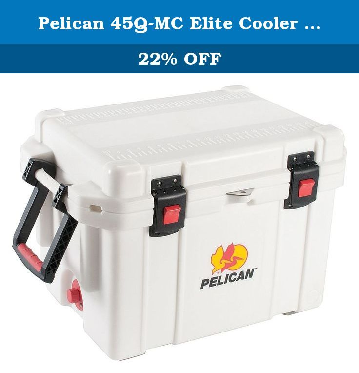 """Pelican 45Q-MC Elite Cooler (White). Enjoy premium storage with the ProGear Marine Deluxe Cooler with 2"""" Insulation. With polyethylene plastic, the cooler features a freezer grade gasket for extreme water tightness. The 2"""" ultra-thick polyurethane insulation provides extreme ice retention. The 100% non-corrosive stainless steel hardware includes a molded-in lock hasp, molded-in stationary handle bars and a dual handle system with rubber over molded handles that are durable and wide for…"""