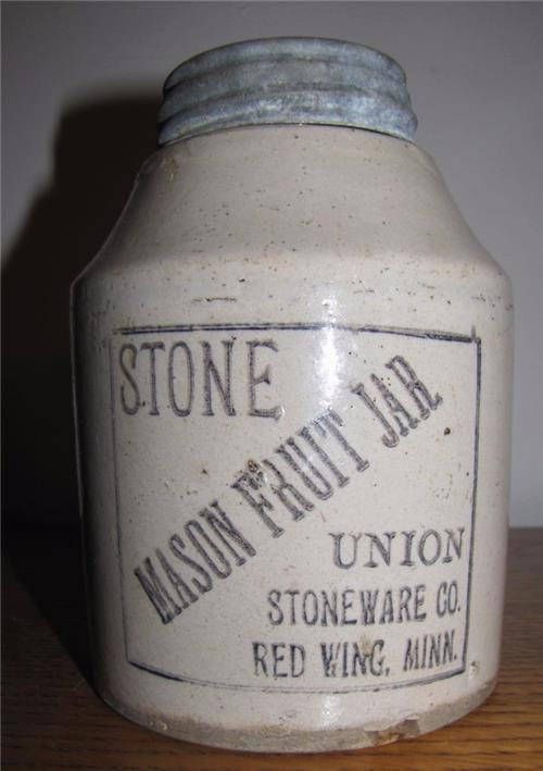 Antique STONE Mason FRUIT JAR Union Stoneware Co. Red Wing Minnesota Zinc Cap with Milk Glass Liner Patent Jan 1899 Gray/Black Lettering by MsBunnyVintage on Etsy