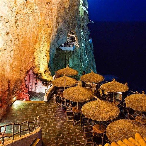 Cool cave bar. Cova d'en Xoroi, Menorca, Spain (Cova d'en Xoroi, Menorca, Spain)…