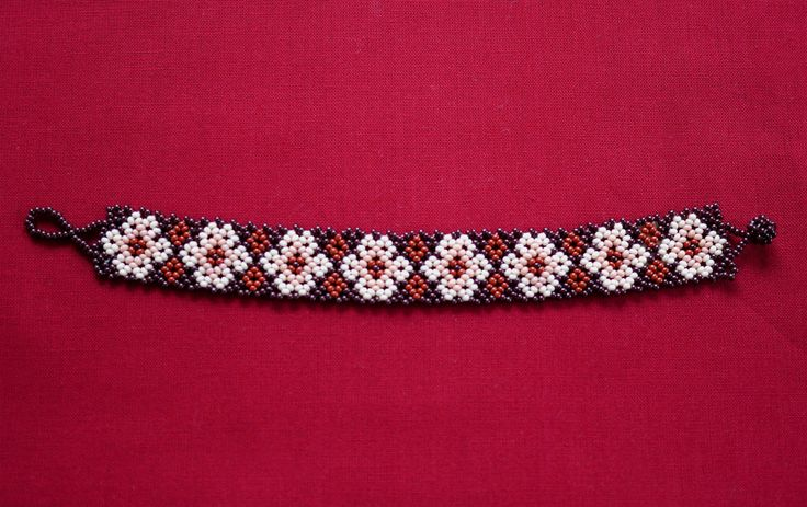 MEXICAN FLOWERS BEADED BRACELET - DARK RED & LIGHT PINK   ★ Mexican beaded bracelet, with flower path in dark red, two shades of light pink, and medium brown. It's simple to wear; it just easily rolls over your hand and is very comfortable. ★ This beaded work is made by Mexican families. ★ You can combine it with various styles!