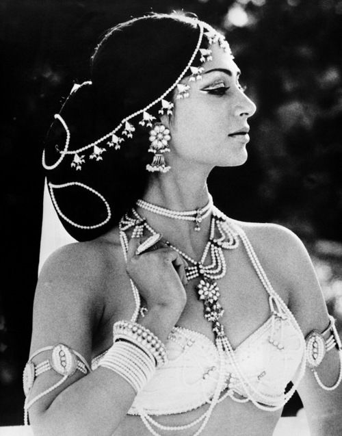 The still is of Simi as the courtesan Kamala in the film adaption of Hermann Hesse's novel Siddhartha.