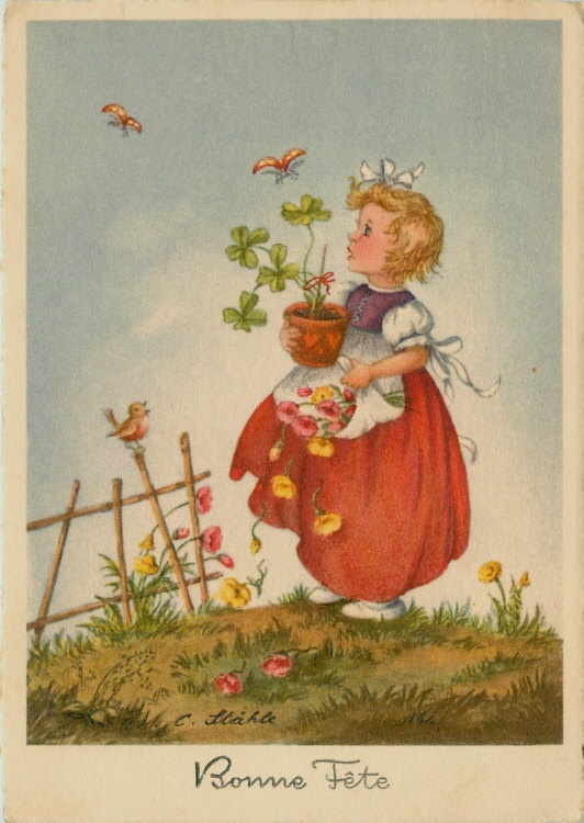C Stahle Artist Signed Birthday Girl Plant Butterflies Vintage Postcard | eBay