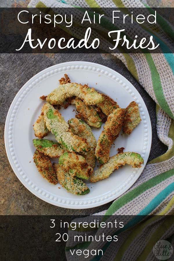 How to make avocado fries in the air fryer. These crispy, rich avocado fries use no added oil at all. They're kind of like magic!