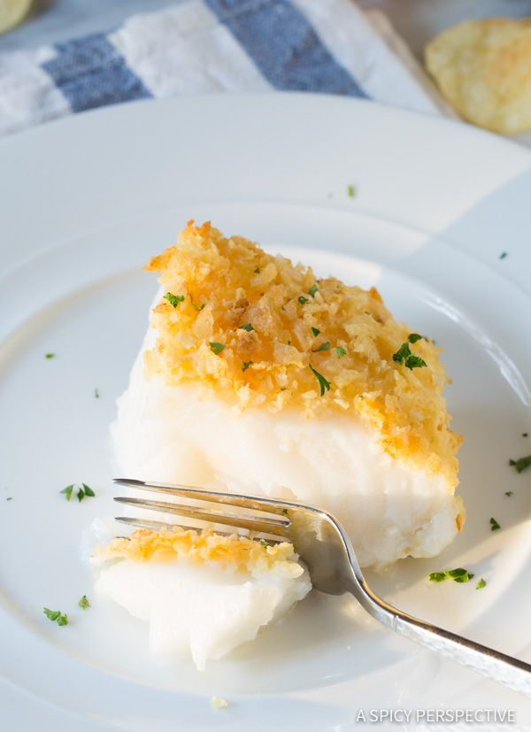 Salt and Vinegar Potato Chip Crusted Baked Sea Bass Recipe (Healthy Fish and Chips!) | ASpicyPerspective.com