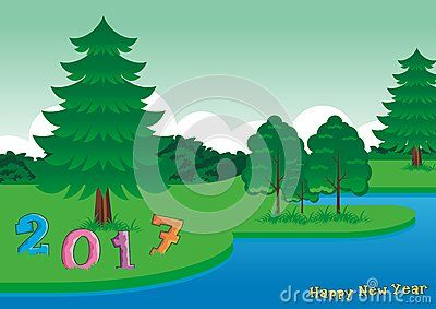 2017 on the grass - Happy New Year - scenery theme with cartoon design