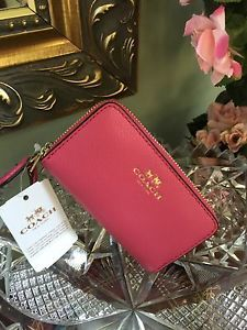 Coach Coin Case Wallet Leather Double Zip Dahlia Pink F63921 W1 | eBay
