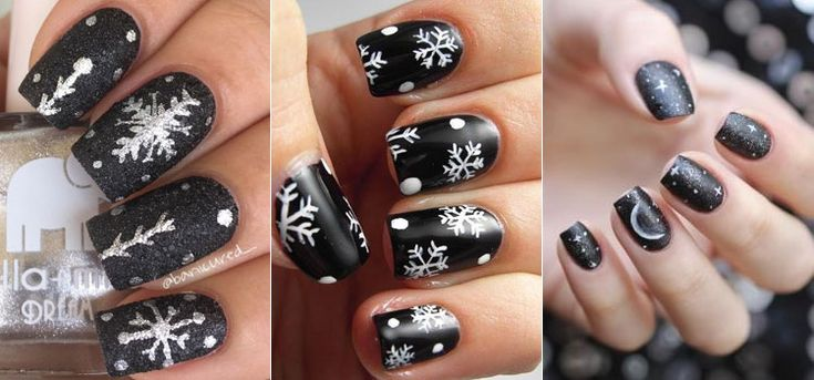 Черный зимний маникюр со снежинками