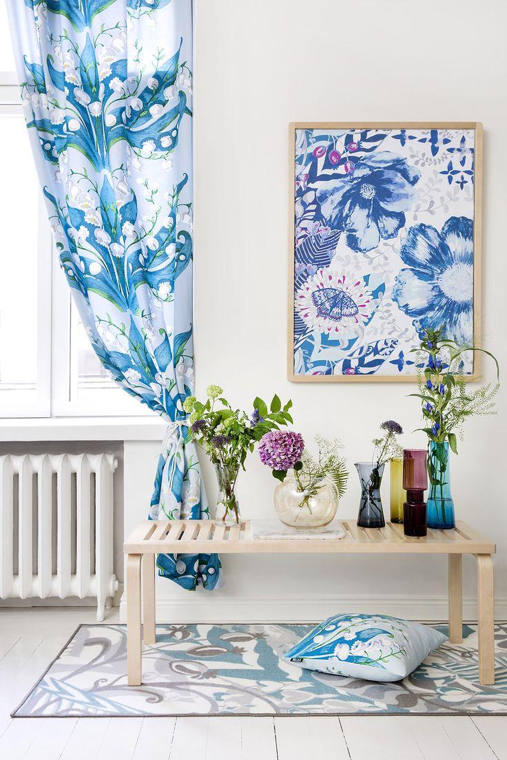 Kielo curtain and cushion by Tanja Orsjoki, Loitsu fabric and rug by Matleena Issakainen