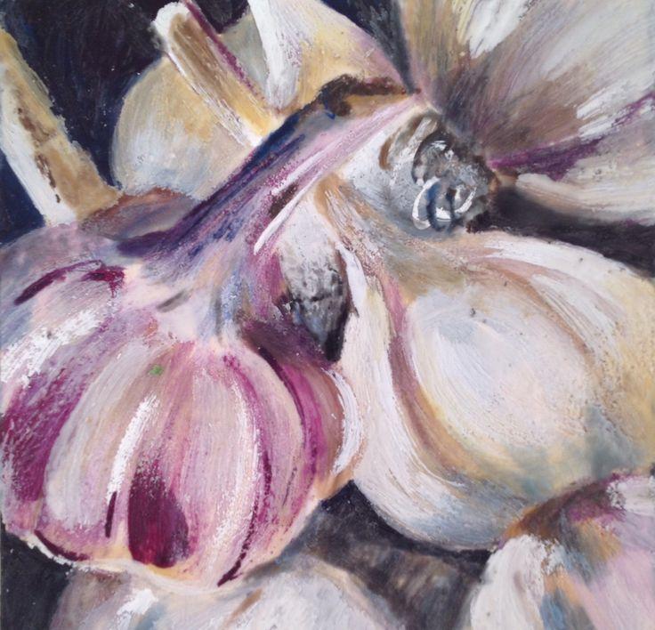 Garlic. Encaustic food art.