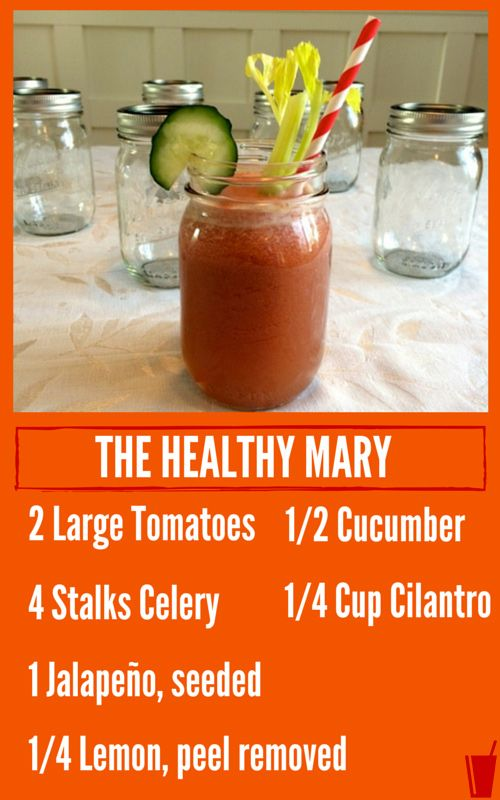 My kind of healthy!!! The Healthy Mary Healthy Juice Recipe listed with a mason jar filled with the healthy juice.