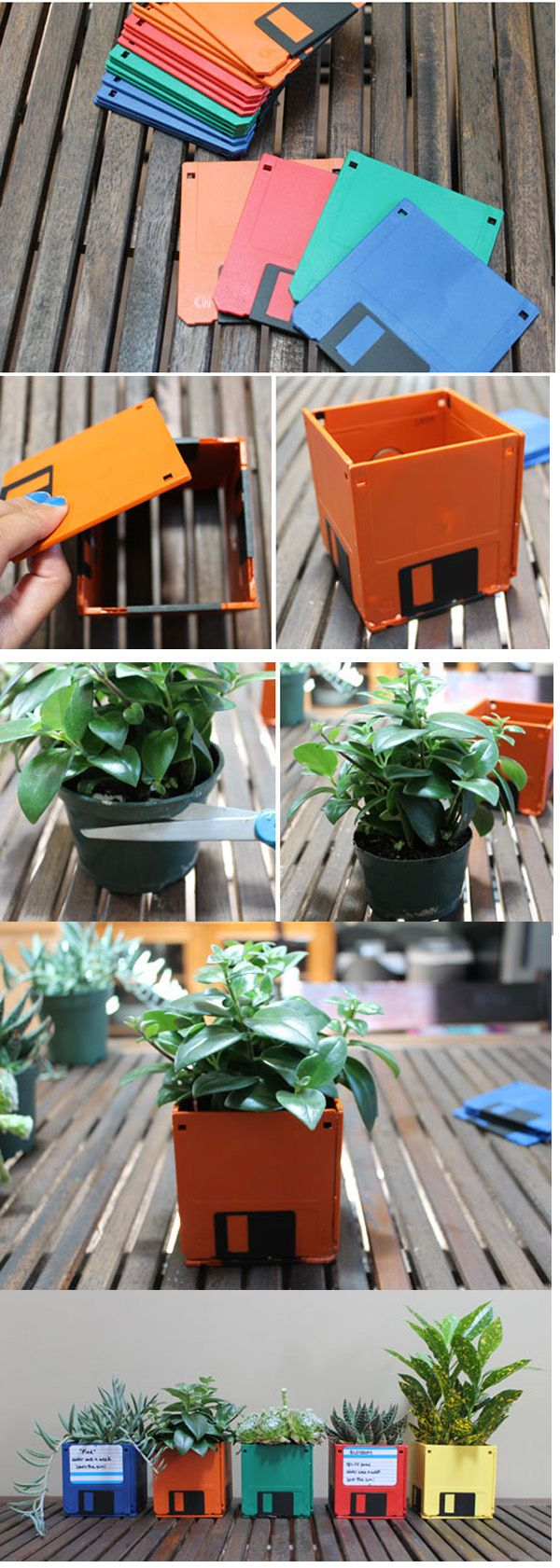 Planters out of old floppy Best Out of e Waste Ideas