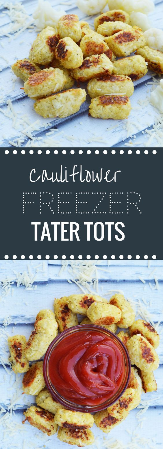 Make a big batch of these make ahead freezer friendly cauliflower tater tots because they will go fast! Kids love them!!