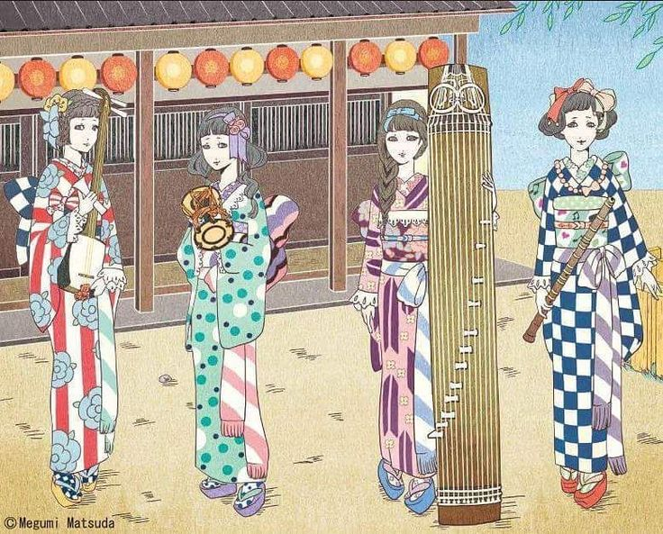"""tanuki-kimono: """"Lovely kimono hime inspired outfits by Megumi Matsuda. They all hold traditional japanese instruments: a shamisen, a tsuzumi, a koto and what I believe is a shakuhachi (I am not good at recognizing flutes types ^^;) """""""