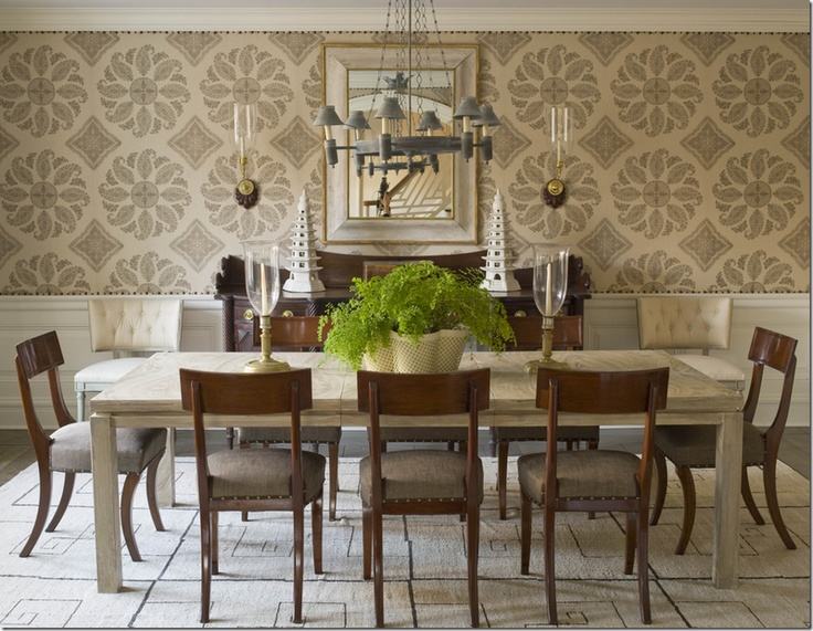 Klismos Chairs At Dining Table Phoebe Howard Peter Dunham Wallpaper