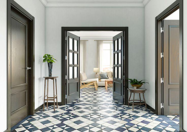 Las puertas oscuras, mejor combínalas con paredes y suelos claros y consigue un contraste ideal - Leroy Merlin