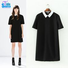2016 весной новый продукт европейский и америка стиль женщины с коротким рукавом платье мода краткая информация питер пэн воротник черный свободного покроя платье(China (Mainland))