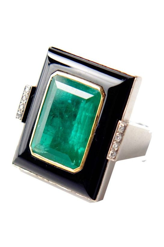 Gorgeous emerald Art Deco ring. Follow Renaissance Fine Jewelry or see us at www.vermontjewel.com. We sell the largest vintage and antique jewelry collection in Southern Vermont! Plus, we do expert custom design and restoration.