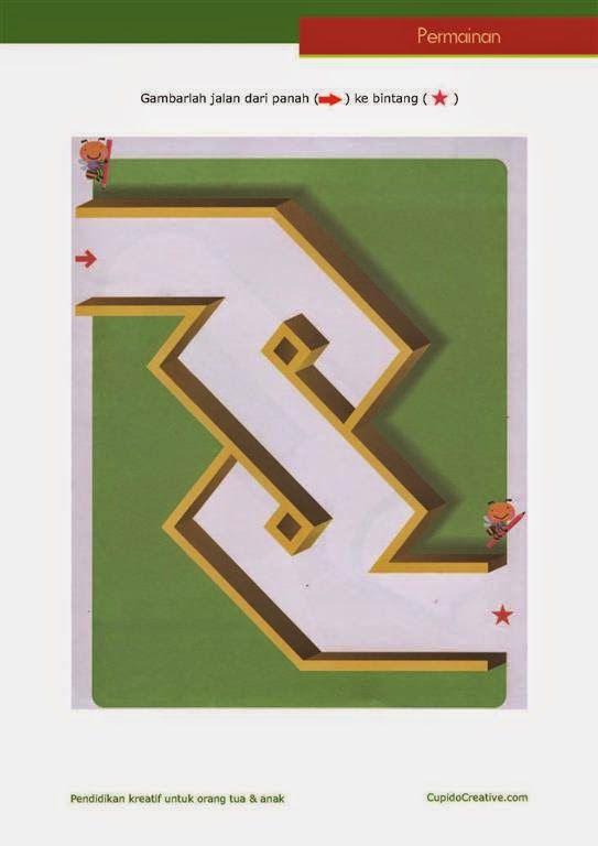 Permainan Anak, labirin sederhana untuk PAUD (balita/TK), maze