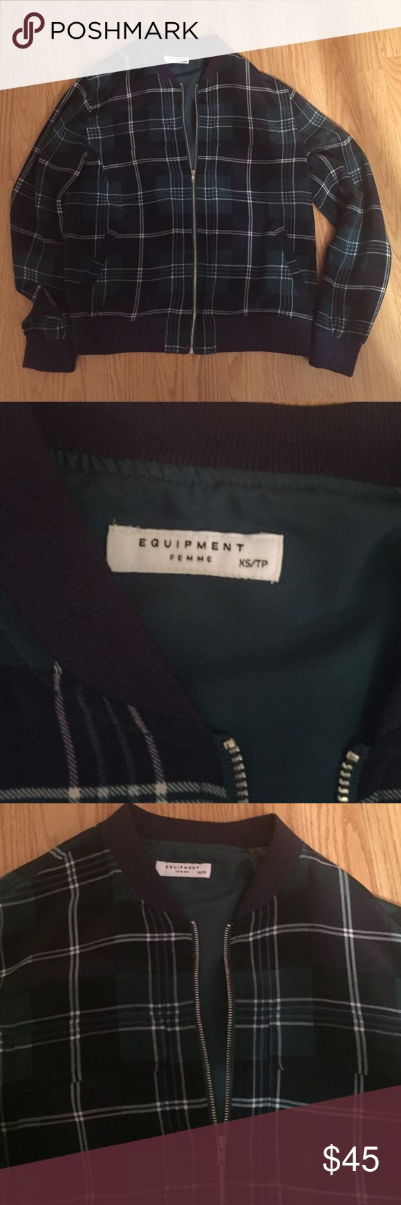 Equipment blue green and white jacket size XS Equipment plaid blue green and white zip up jacket size XS.  Worn on time and it is in perfect condition! Equipment Jackets & Coats
