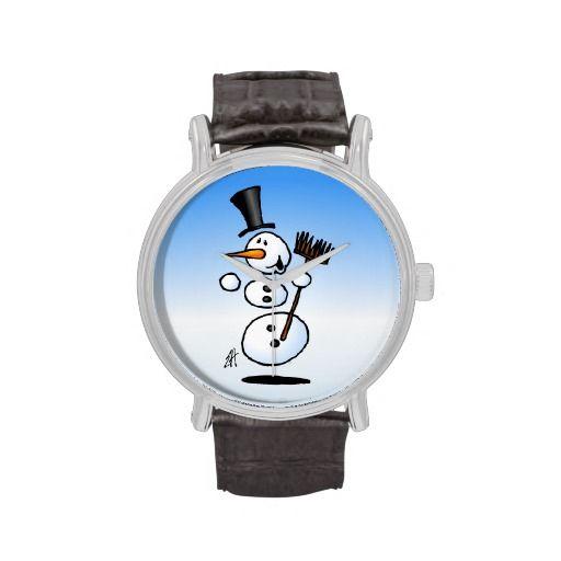 Dancing snowman wristwatch #Zazzle #Cardvibes #Tekenaartje #Winter #Snow