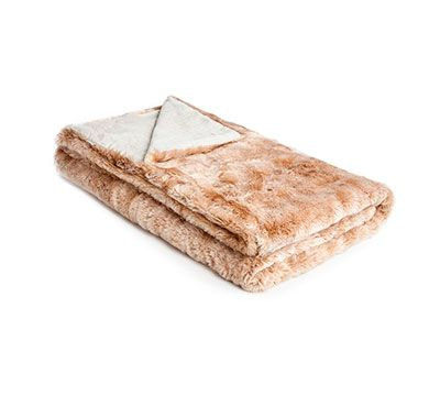 Mrs.Me home couture| Faux fur - linen | Bed-end spread Mellow Salmon