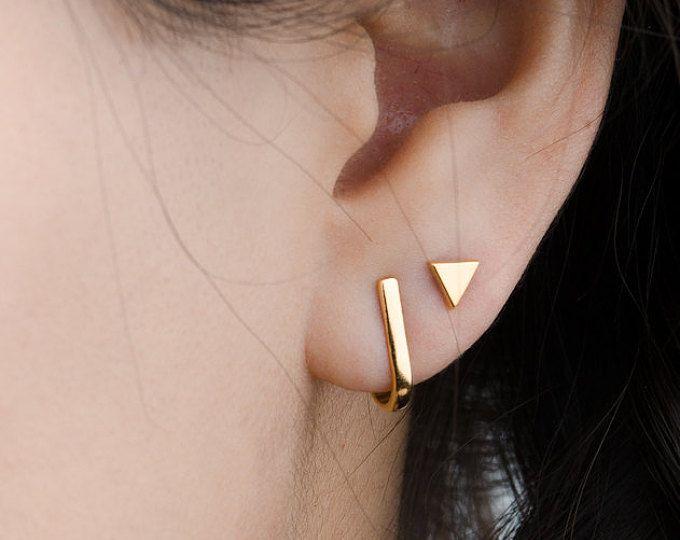 Bar Stud Earrings- Geometric Earrings- Set of 4 Earrings-Minimalist Jewelry- Tiny Bar Earring- Cartilage Earring- Dainty Earring-COM502