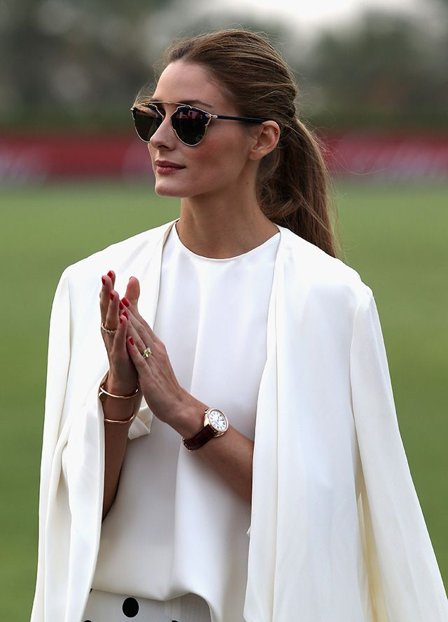 Olivia palmero conducts a classic  look that is suitable for all occasions. Wear one colour head-to-toe to lengthen your body.