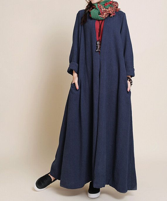 Spring Oversized loose maxi dress linen long sleeved