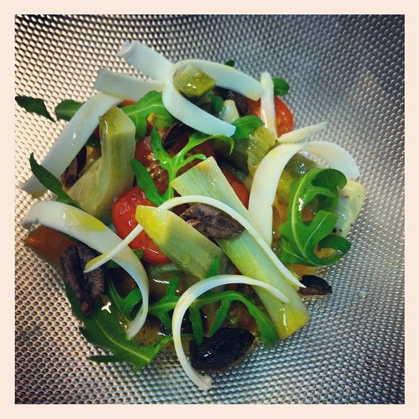 New season globe artichokes, goats cheese, spring tomato & olive vinegarette , love spring produce! 24 Oct 2012