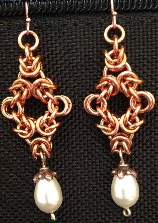 Pearl and Copper Chain Maille Earrings Chainmaillers by LABweorc, $20.00