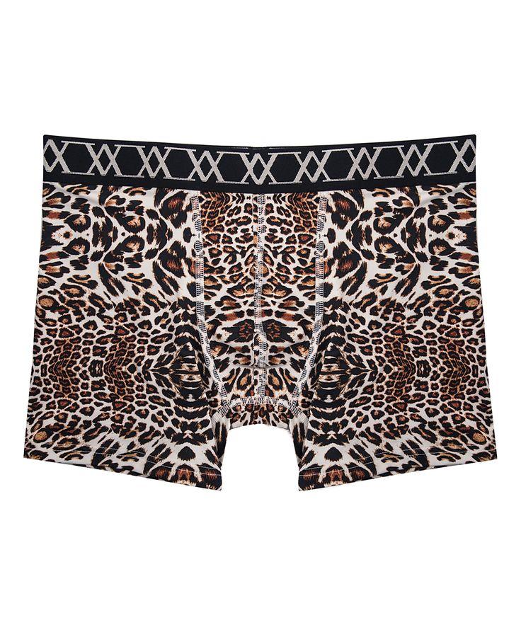 Brown Leopard Comfort-Waist Boxer Briefs