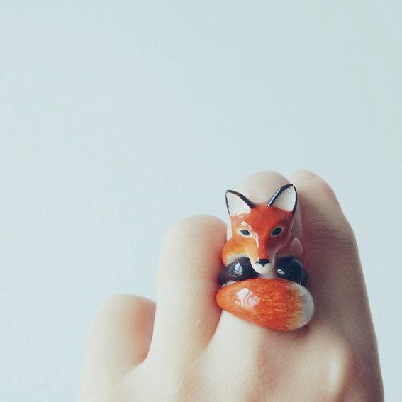 Orange Fox 3 Piece Ring Set - Enamel ring, Animals Ring, Animals Jewelry, Enamel Brass Jewelry, Trio Ring, Animal, Gift, Cutie, Mary Lou