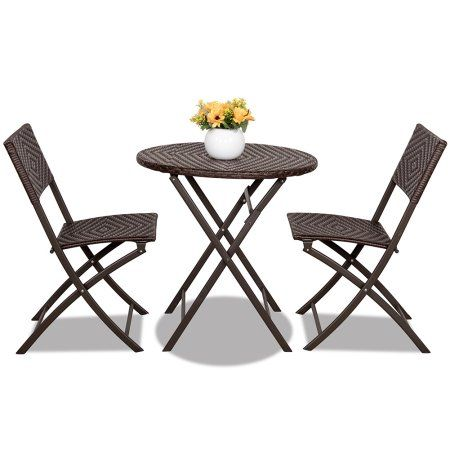 Sundale Outdoor 3PC Patio Wicker Folding Bistro Set   Table And 2 Chairs Set