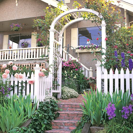 Some simple doable ideas to create a better first impression of your house: Diy Gardens, Cottages Gardens, First Impressions, Cottage Gardens, Arbors Entry, Curb Appeal, Front, Pergolas Entrance, Supplies Structures