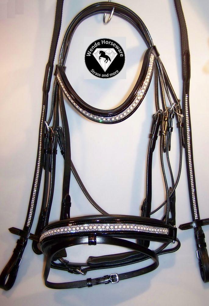 Trense schwarz Lack Leder Perlen + Strass WB NEU sehr weich unterlegt schwedisch in Sport, Reit- & Fahrsport, Trensen & Zubehör | eBay