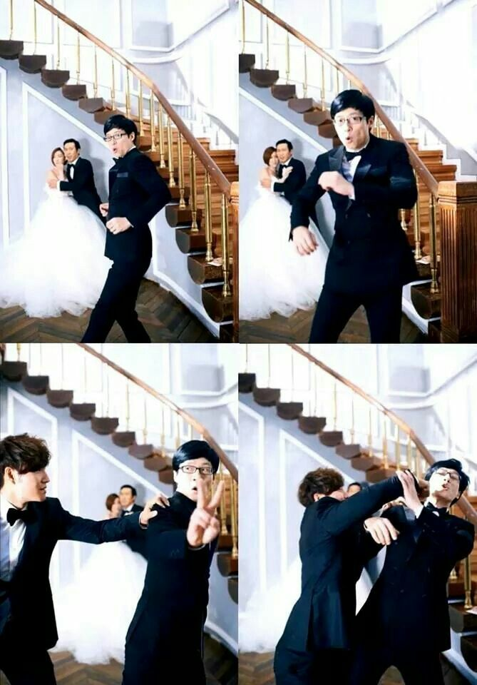 Haha & Byul's wedding pics... Photobombed by JaeSuk & JongKook.