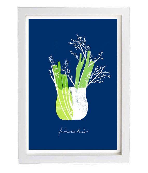 Blue Finocchio Kitchen art print 11x15 archival fine by anek