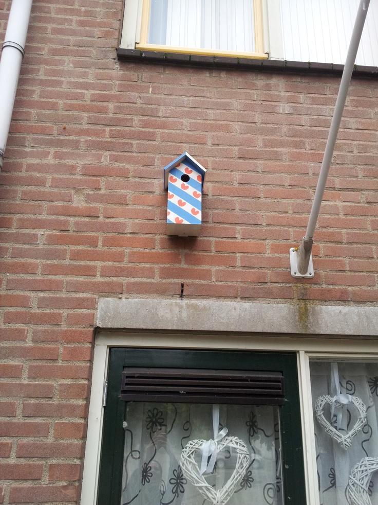 vogelhuisje zelfgeschildert in de friese vlag