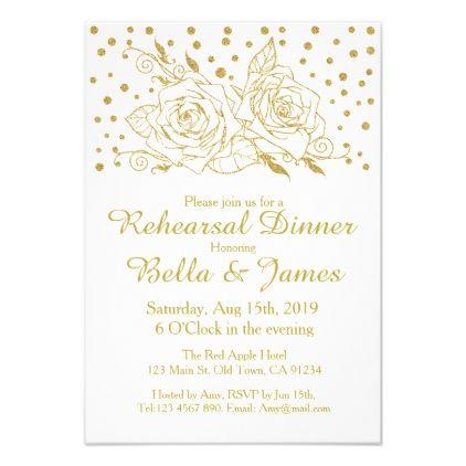 #Elegant Gold Floral Wedding Rehearsal Invitations - #weddinginvitations #wedding #invitations #party #card #cards #invitation #floral