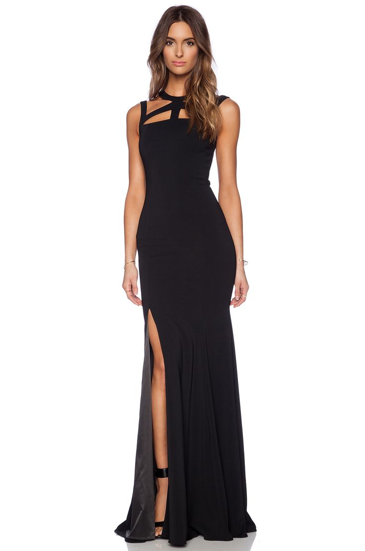 Jay Godfrey Foyt V Back Gown in Black