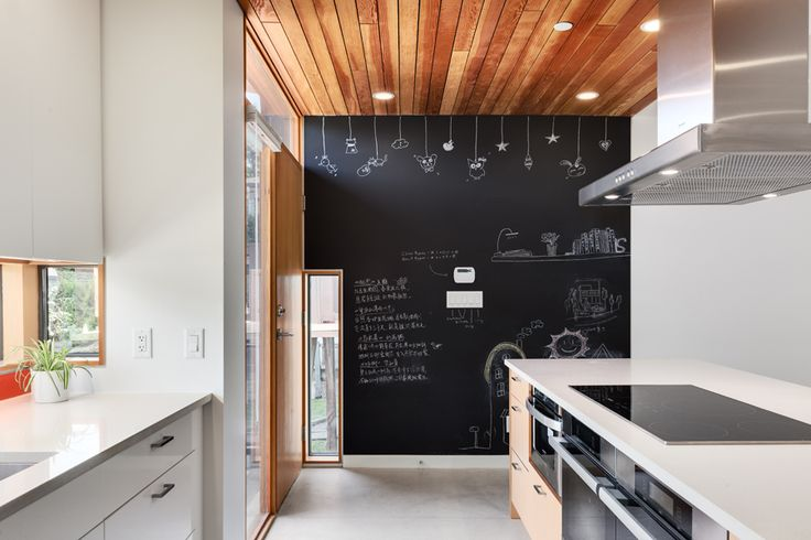 This passive/eco-home has a big and fun kitchen area which is great for families with kids | Eco Home | West Coast Modern | Passive House | Photo taken by Two Column Marketing