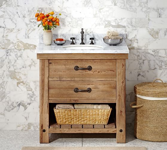 Pottery Barn: Benchwright Single Sink Console - Wax Pine finish ... love for the downstairs bathroom.
