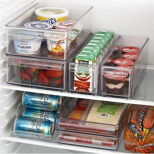Organize the fridge! I saw these containers at Bed Bath Beyond.