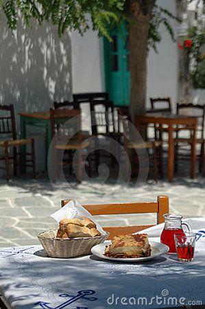 Greek taverna lunch - Moussaka, Retsina...mmm