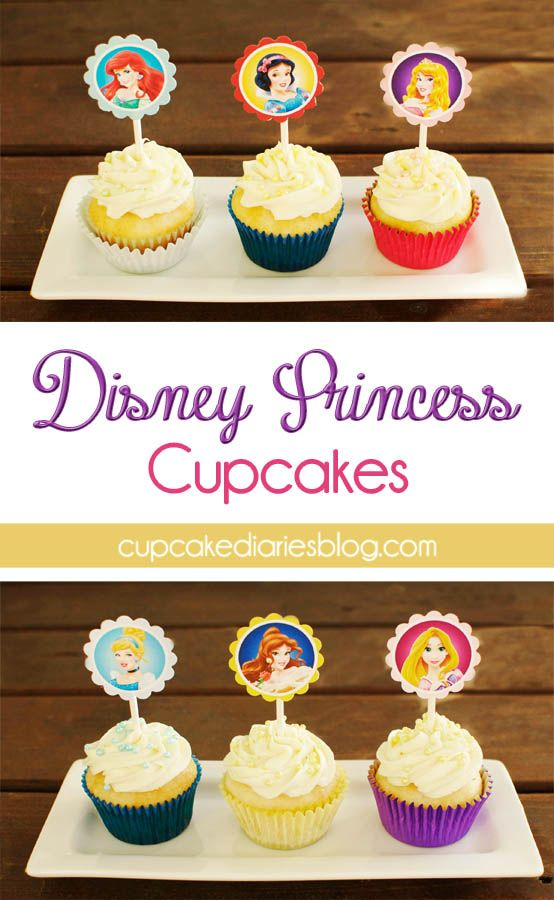 Disney Princess Cupcakes with FREE Cupcake Toppers Printable - Perfect for a Disney Princess birthday party! | cupcakediariesblog.com