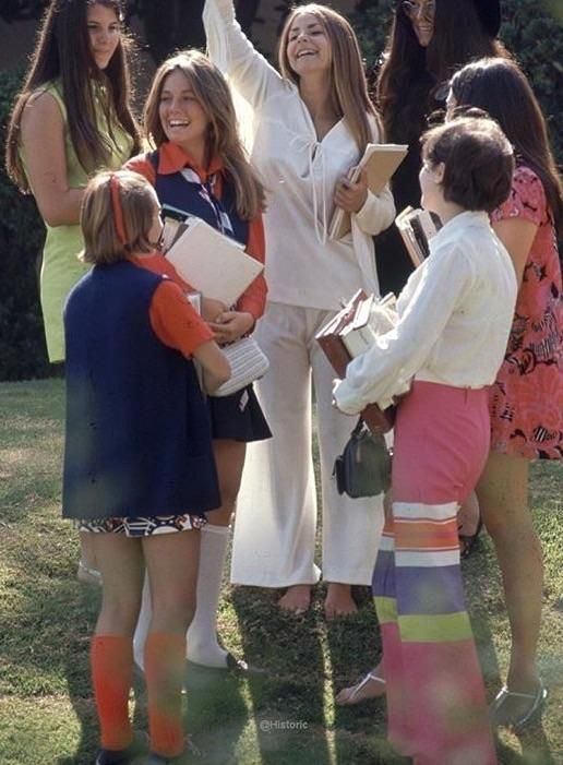 Group of Beverly Hills high school students California 1969